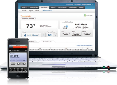 emPower thermostat control via web and mobile apps