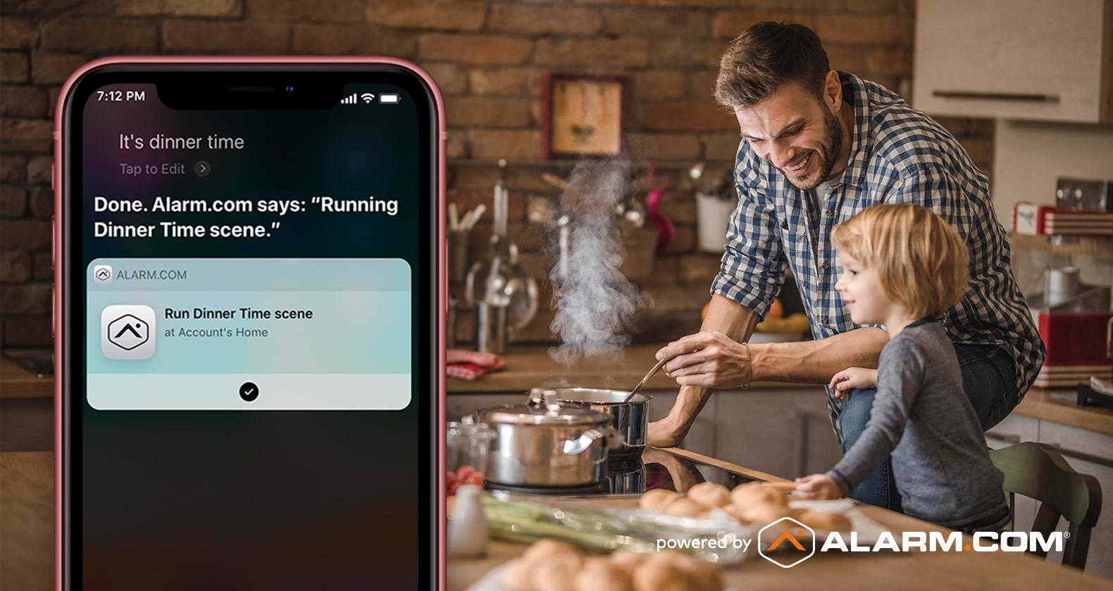 Siri Shortcut Alarm.com Dinnertime